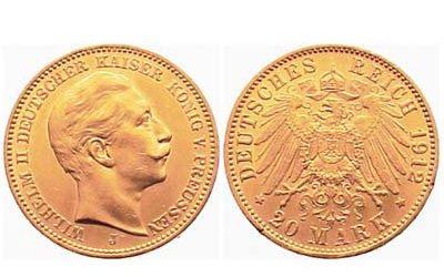 20 Γερμανικά Χρυσά Μάρκα Πρωσσίας (1912)